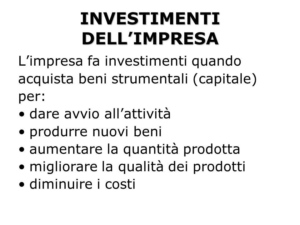 INVESTIMENTI DELL'IMPRESA