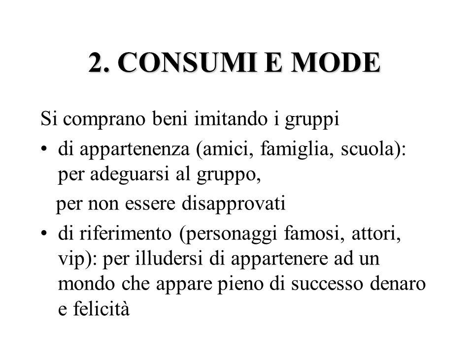 2. CONSUMI E MODE Si comprano beni imitando i gruppi