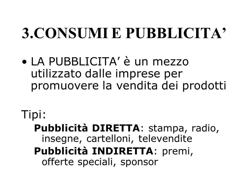 3.CONSUMI E PUBBLICITA'LA PUBBLICITA' è un mezzo utilizzato dalle imprese per promuovere la vendita dei prodotti.