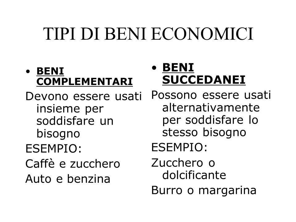 TIPI DI BENI ECONOMICI BENI SUCCEDANEI