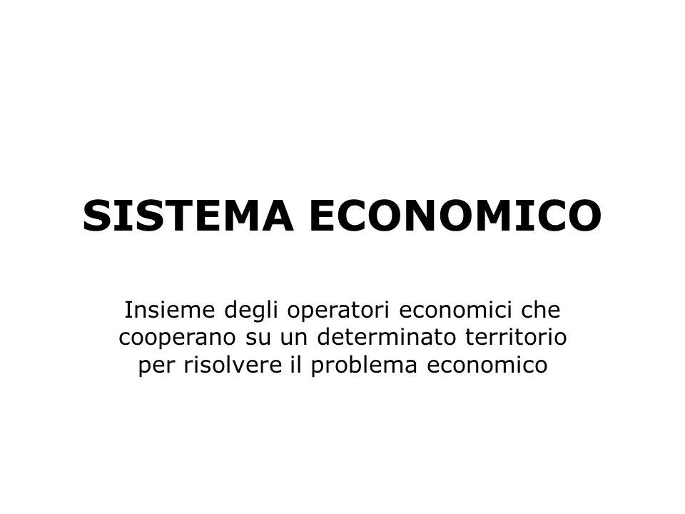 SISTEMA ECONOMICOInsieme degli operatori economici che cooperano su un determinato territorio per risolvere il problema economico.