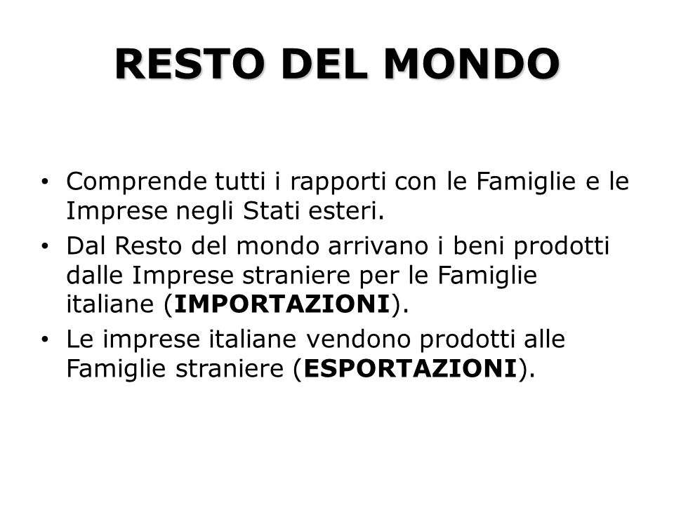 RESTO DEL MONDOComprende tutti i rapporti con le Famiglie e le Imprese negli Stati esteri.