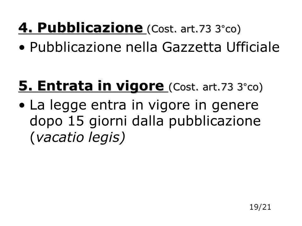 4. Pubblicazione (Cost. art.73 3°co)