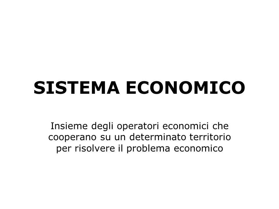 SISTEMA ECONOMICO Insieme degli operatori economici che cooperano su un determinato territorio per risolvere il problema economico.
