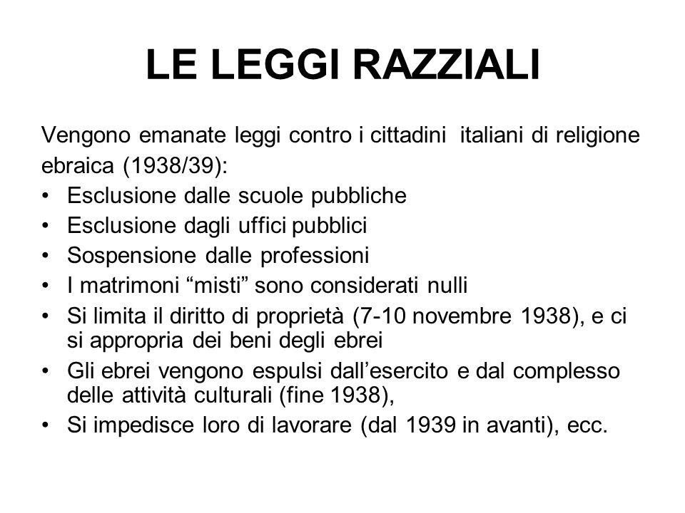 LE LEGGI RAZZIALI Vengono emanate leggi contro i cittadini italiani di religione. ebraica (1938/39):