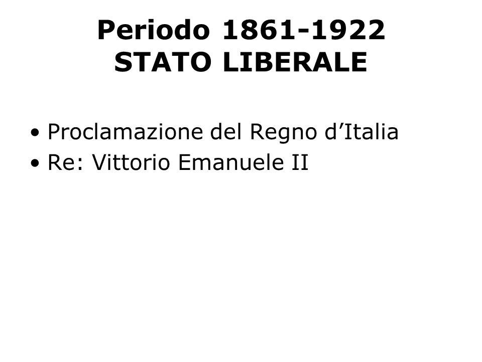 Periodo 1861-1922 STATO LIBERALE