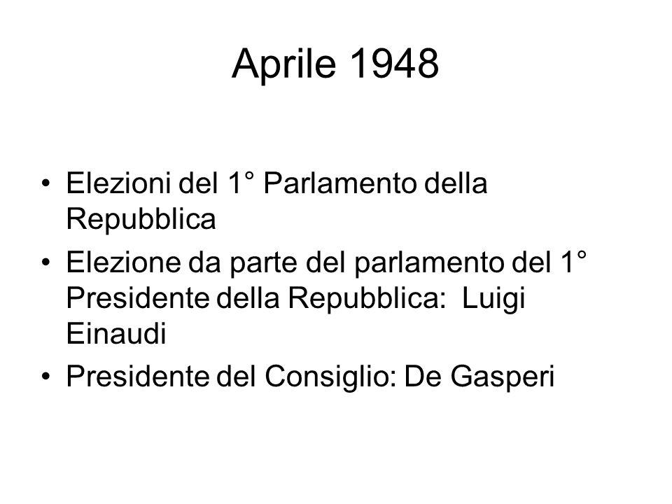 Aprile 1948 Elezioni del 1° Parlamento della Repubblica