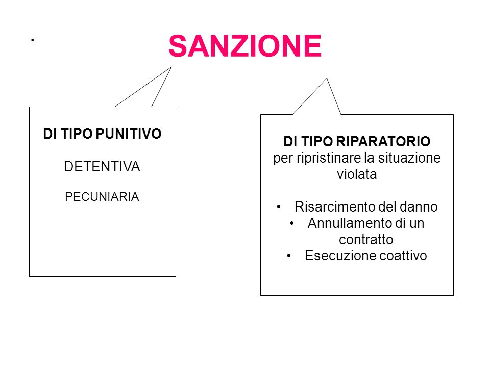 SANZIONE . DI TIPO PUNITIVO DI TIPO RIPARATORIO DETENTIVA