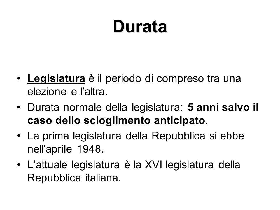 Durata Legislatura è il periodo di compreso tra una elezione e l'altra.