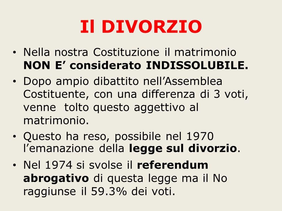 Il DIVORZIO Nella nostra Costituzione il matrimonio NON E' considerato INDISSOLUBILE.