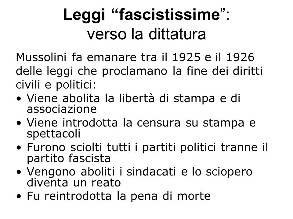 Leggi fascistissime : verso la dittatura