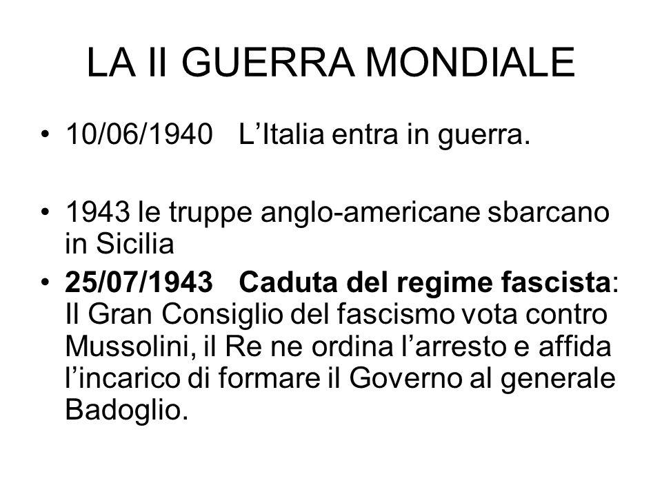 LA II GUERRA MONDIALE 10/06/1940 L'Italia entra in guerra.