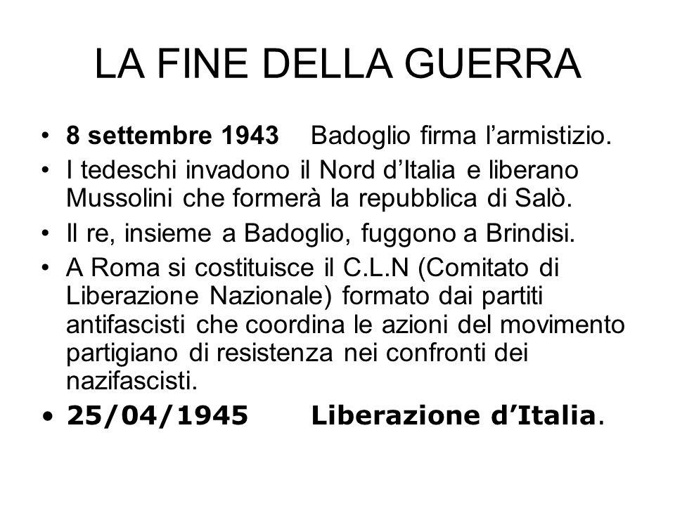 LA FINE DELLA GUERRA 8 settembre 1943 Badoglio firma l'armistizio.