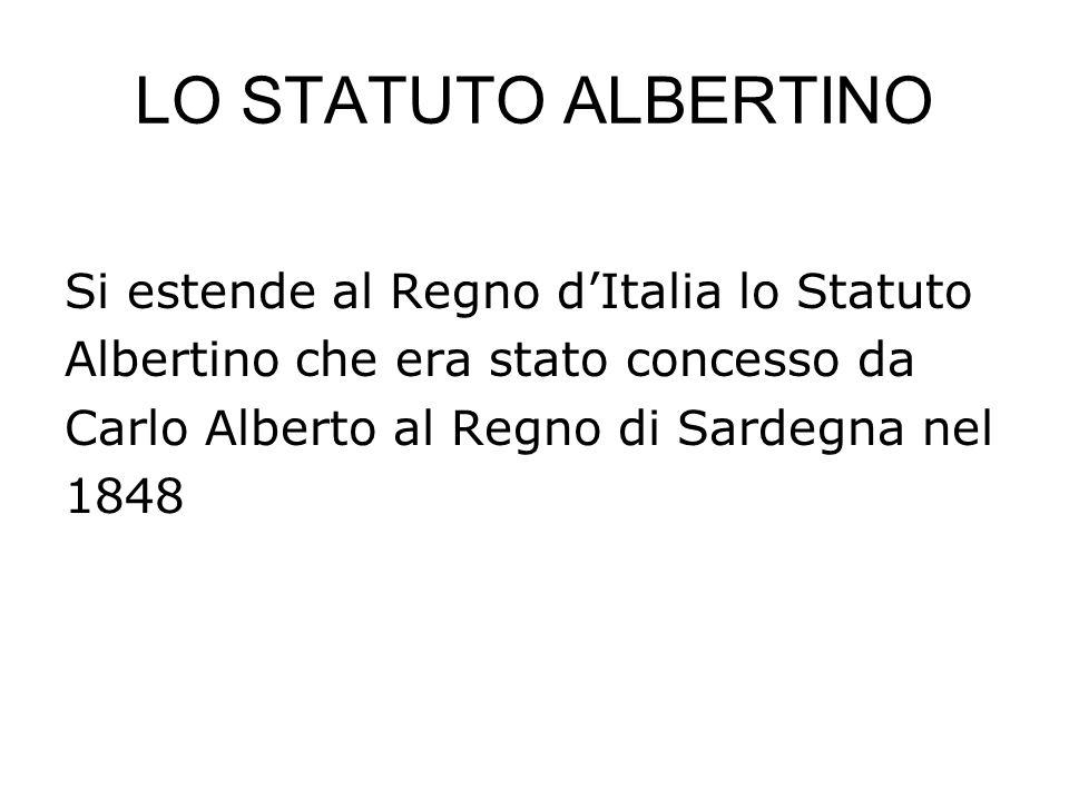 LO STATUTO ALBERTINO Si estende al Regno d'Italia lo Statuto