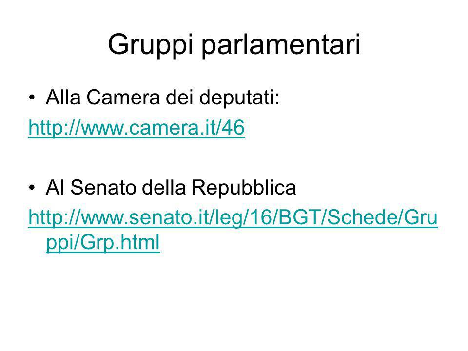 Gruppi parlamentari Alla Camera dei deputati: http://www.camera.it/46