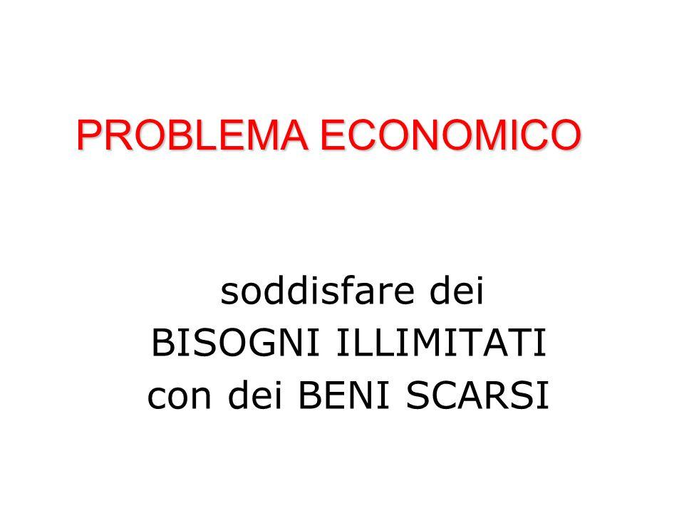 PROBLEMA ECONOMICO BISOGNI ILLIMITATI con dei BENI SCARSI
