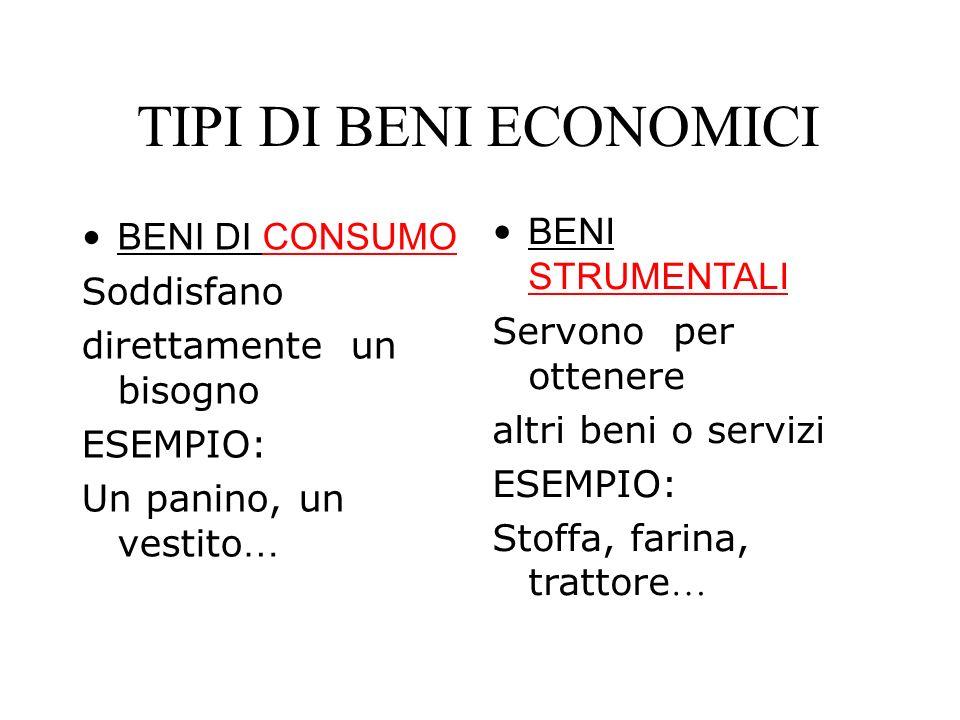 TIPI DI BENI ECONOMICI BENI DI CONSUMO BENI STRUMENTALI Soddisfano