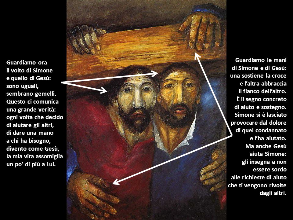 Guardiamo le mani di Simone e di Gesù: una sostiene la croce. e l'altra abbraccia. il fianco dell'altro.