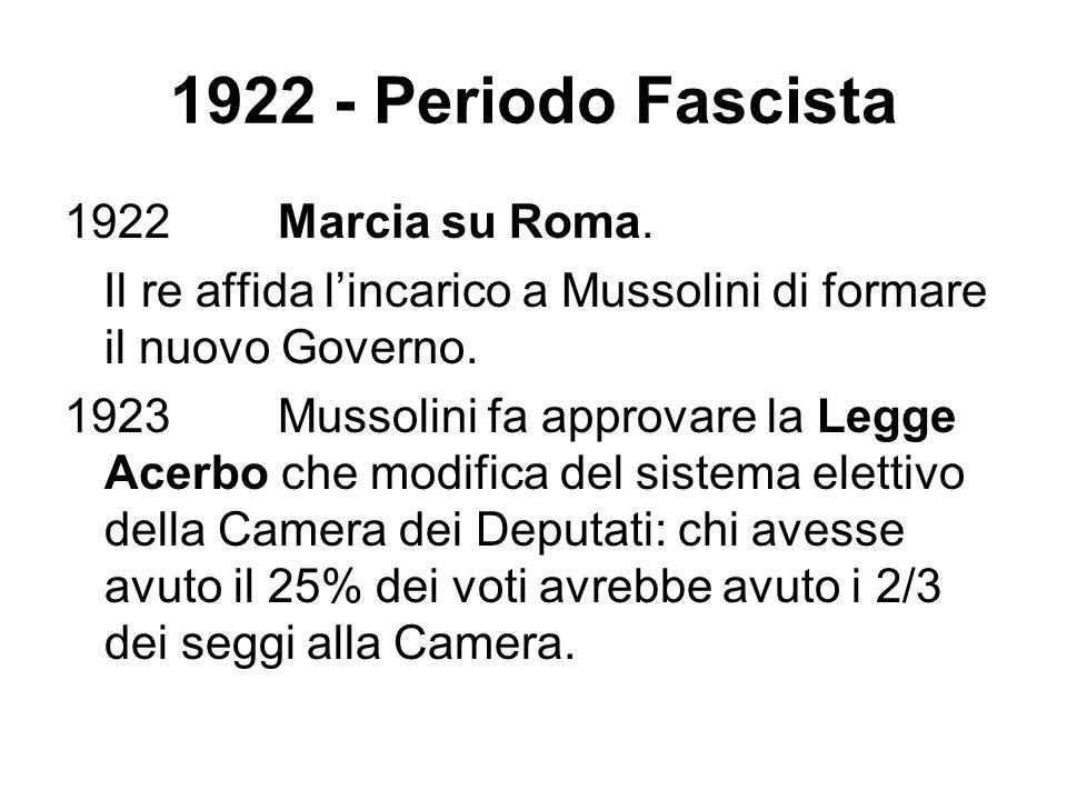 1922 - Periodo Fascista 1922 Marcia su Roma.