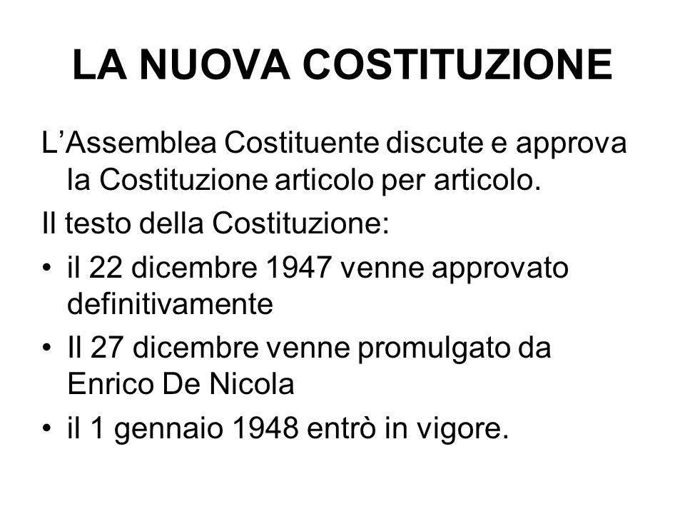 LA NUOVA COSTITUZIONE L'Assemblea Costituente discute e approva la Costituzione articolo per articolo.