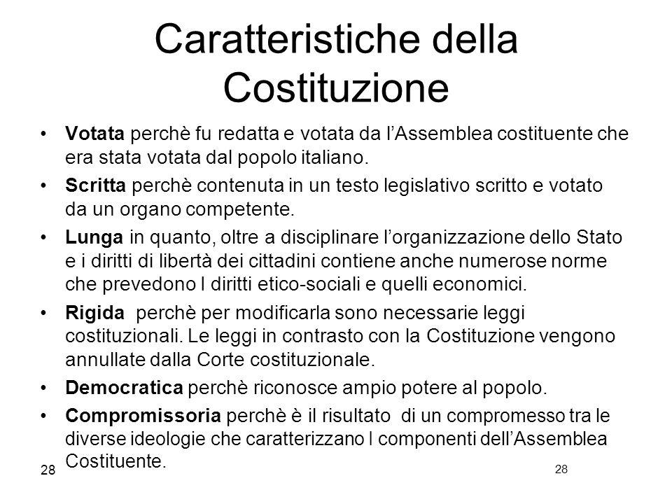 Caratteristiche della Costituzione