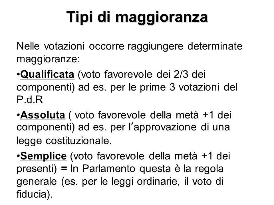 Tipi di maggioranza Nelle votazioni occorre raggiungere determinate maggioranze: