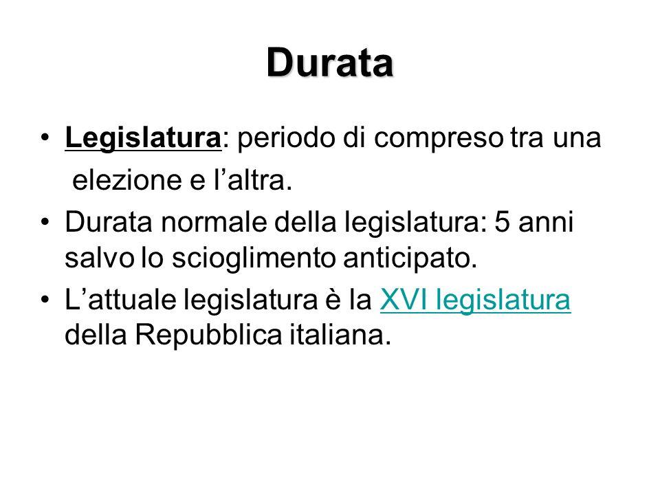 Durata Legislatura: periodo di compreso tra una elezione e l'altra.