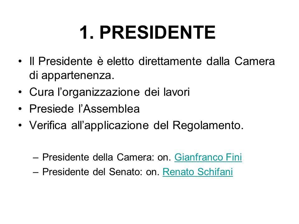 1. PRESIDENTE Il Presidente è eletto direttamente dalla Camera di appartenenza. Cura l'organizzazione dei lavori.