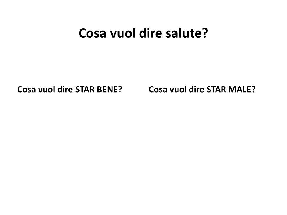 Cosa vuol dire salute Cosa vuol dire STAR BENE