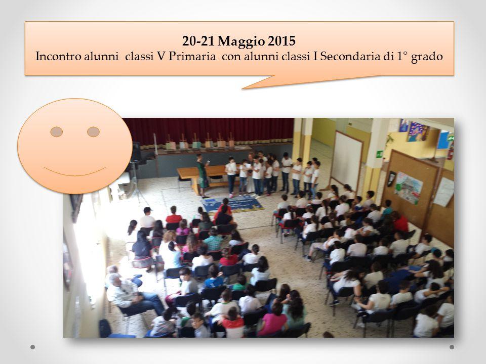 20-21 Maggio 2015 Incontro alunni classi V Primaria con alunni classi I Secondaria di 1° grado