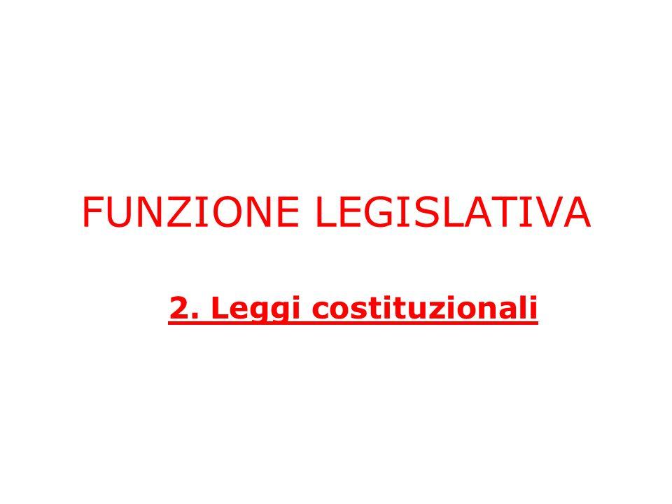 FUNZIONE LEGISLATIVA 2. Leggi costituzionali