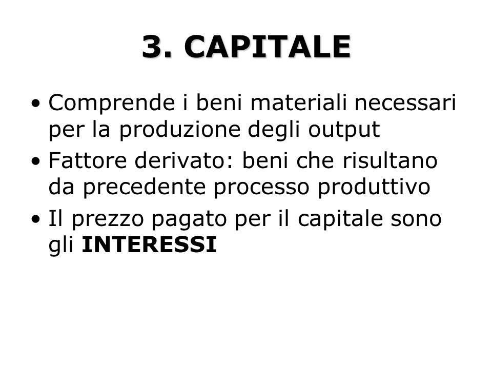 3. CAPITALE Comprende i beni materiali necessari per la produzione degli output.