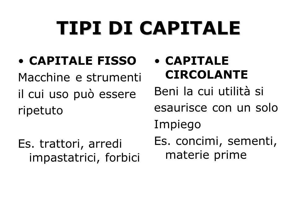 TIPI DI CAPITALE CAPITALE FISSO Macchine e strumenti