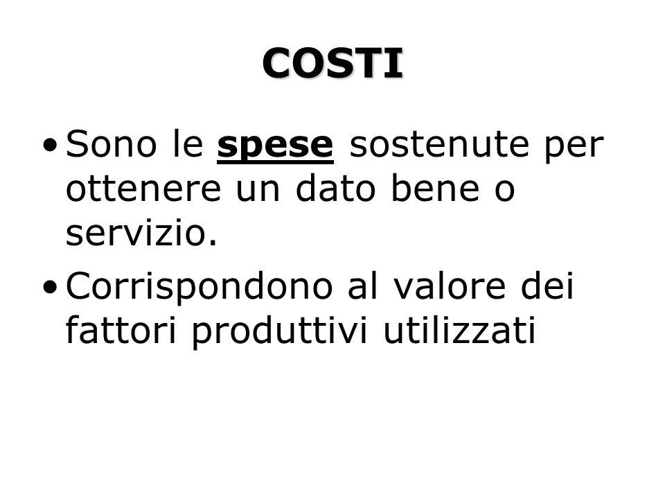 COSTI Sono le spese sostenute per ottenere un dato bene o servizio.