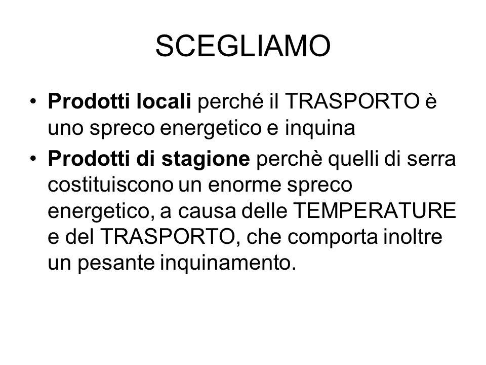SCEGLIAMO Prodotti locali perché il TRASPORTO è uno spreco energetico e inquina.