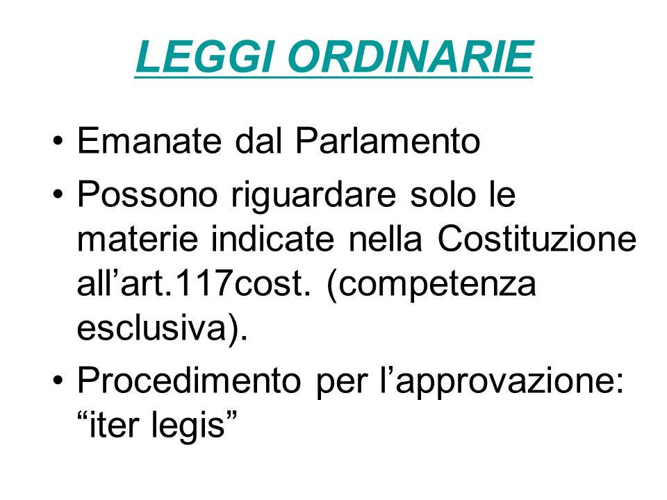 LEGGI ORDINARIE Emanate dal Parlamento
