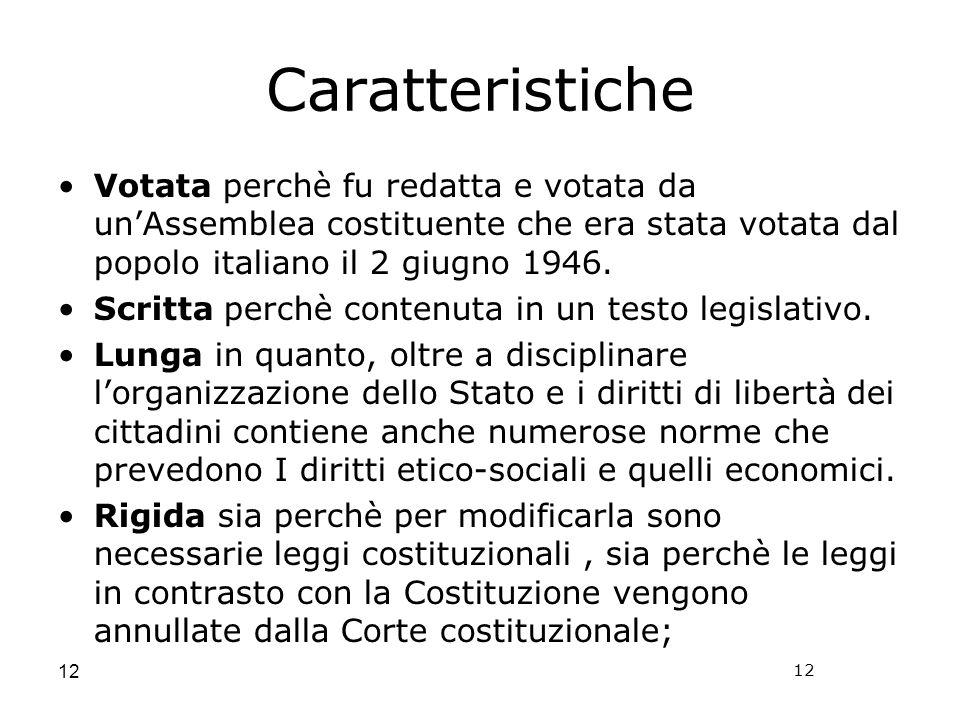 CaratteristicheVotata perchè fu redatta e votata da un'Assemblea costituente che era stata votata dal popolo italiano il 2 giugno 1946.
