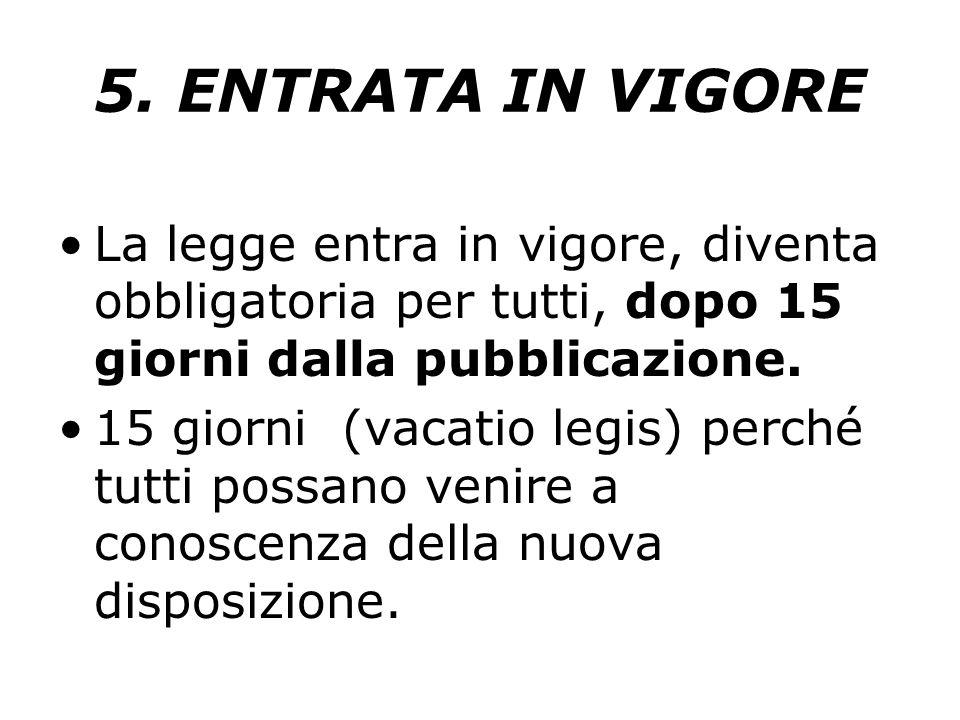5. ENTRATA IN VIGORE La legge entra in vigore, diventa obbligatoria per tutti, dopo 15 giorni dalla pubblicazione.