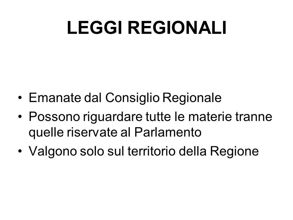 LEGGI REGIONALI Emanate dal Consiglio Regionale