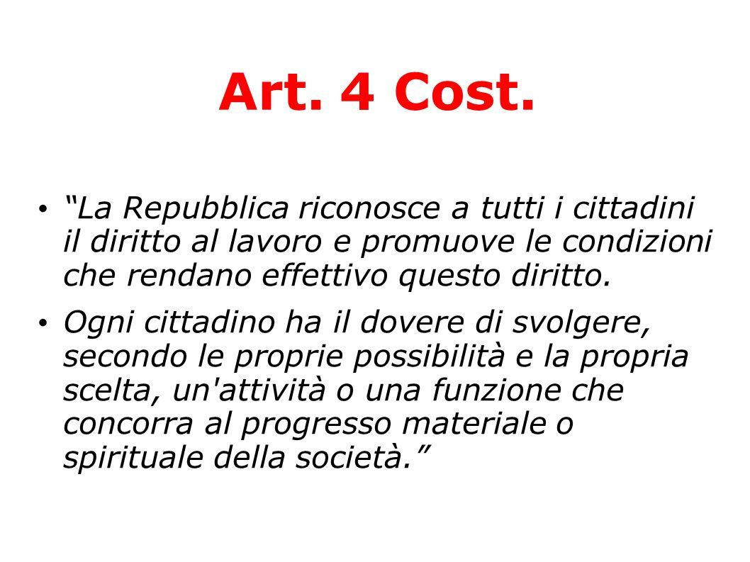 Art. 4 Cost. La Repubblica riconosce a tutti i cittadini il diritto al lavoro e promuove le condizioni che rendano effettivo questo diritto.
