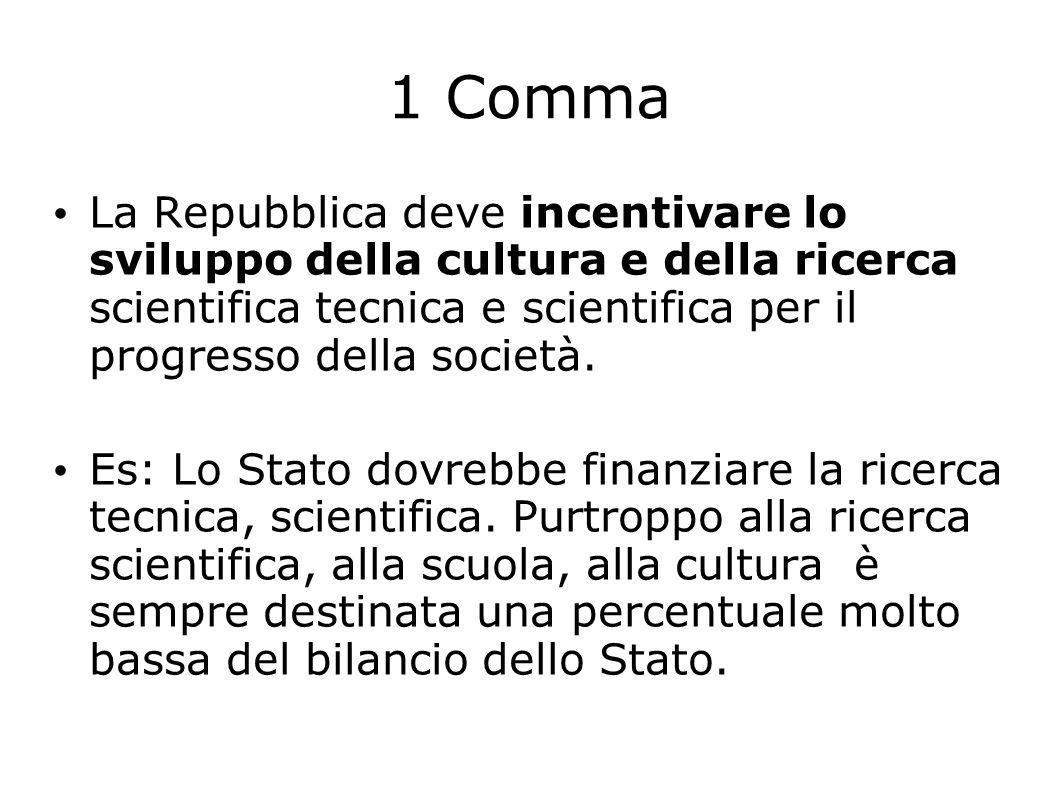 1 Comma La Repubblica deve incentivare lo sviluppo della cultura e della ricerca scientifica tecnica e scientifica per il progresso della società.