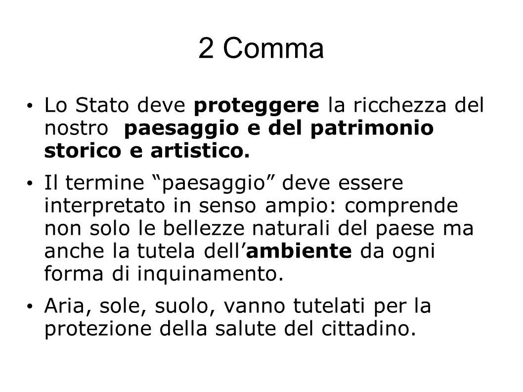 2 Comma Lo Stato deve proteggere la ricchezza del nostro paesaggio e del patrimonio storico e artistico.