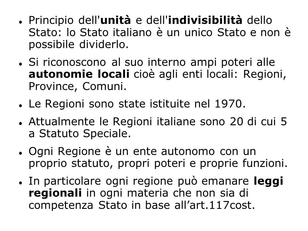 Principio dell unità e dell indivisibilità dello Stato: lo Stato italiano è un unico Stato e non è possibile dividerlo.