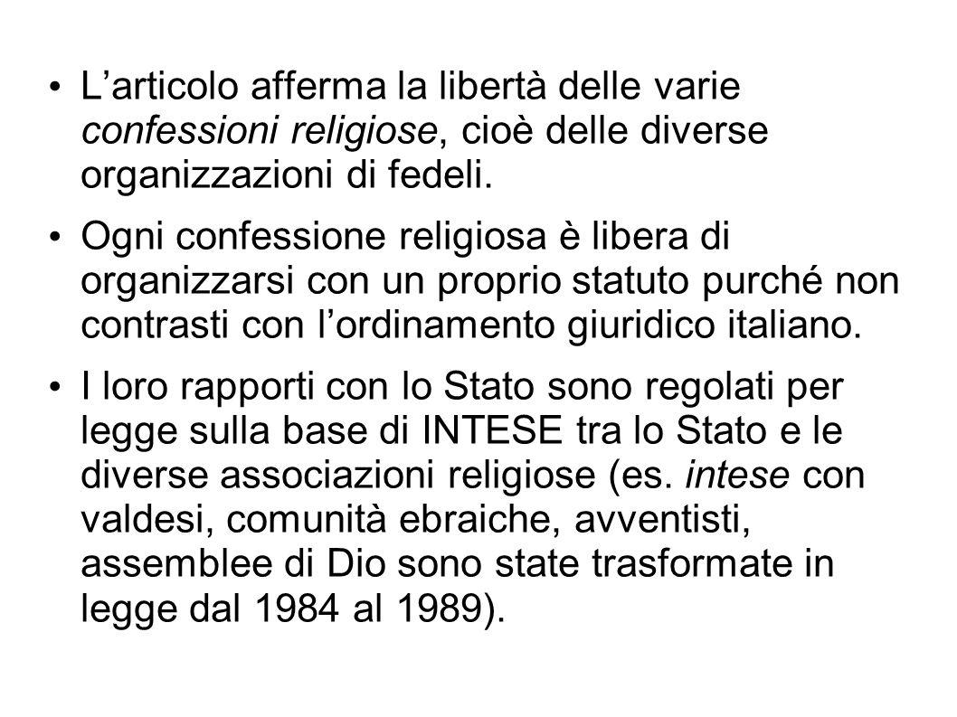 L'articolo afferma la libertà delle varie confessioni religiose, cioè delle diverse organizzazioni di fedeli.