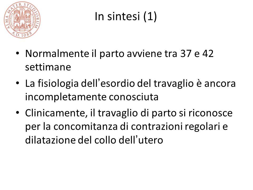 In sintesi (1) Normalmente il parto avviene tra 37 e 42 settimane