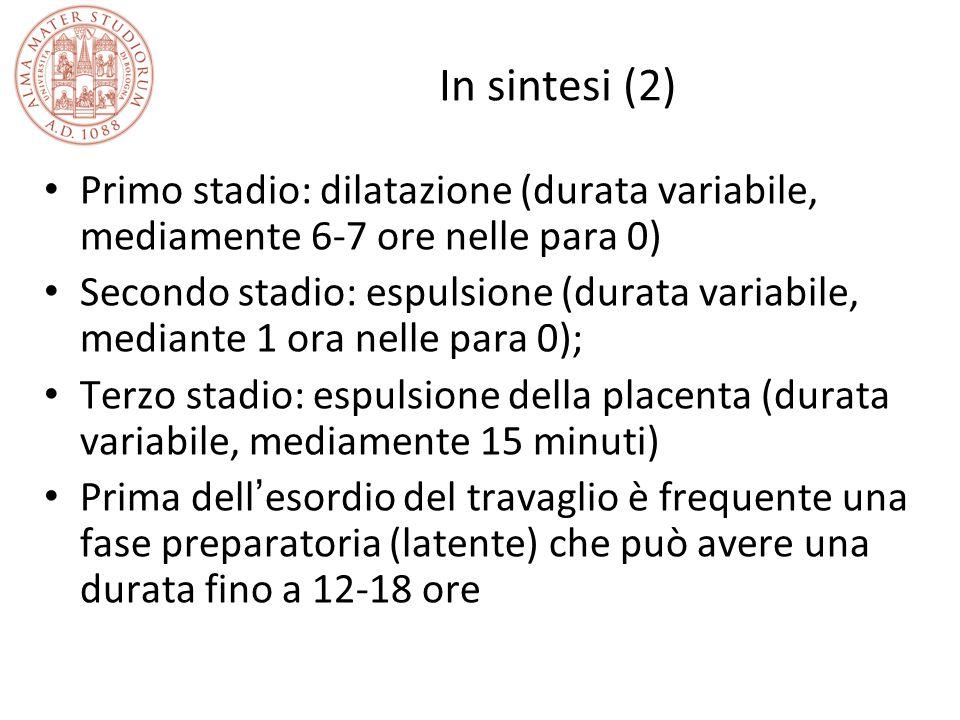 In sintesi (2) Primo stadio: dilatazione (durata variabile, mediamente 6-7 ore nelle para 0)