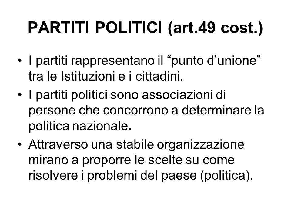 PARTITI POLITICI (art.49 cost.)