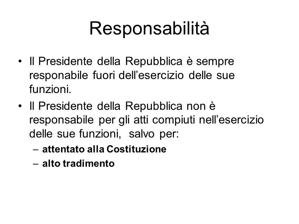 Responsabilità Il Presidente della Repubblica è sempre responabile fuori dell'esercizio delle sue funzioni.