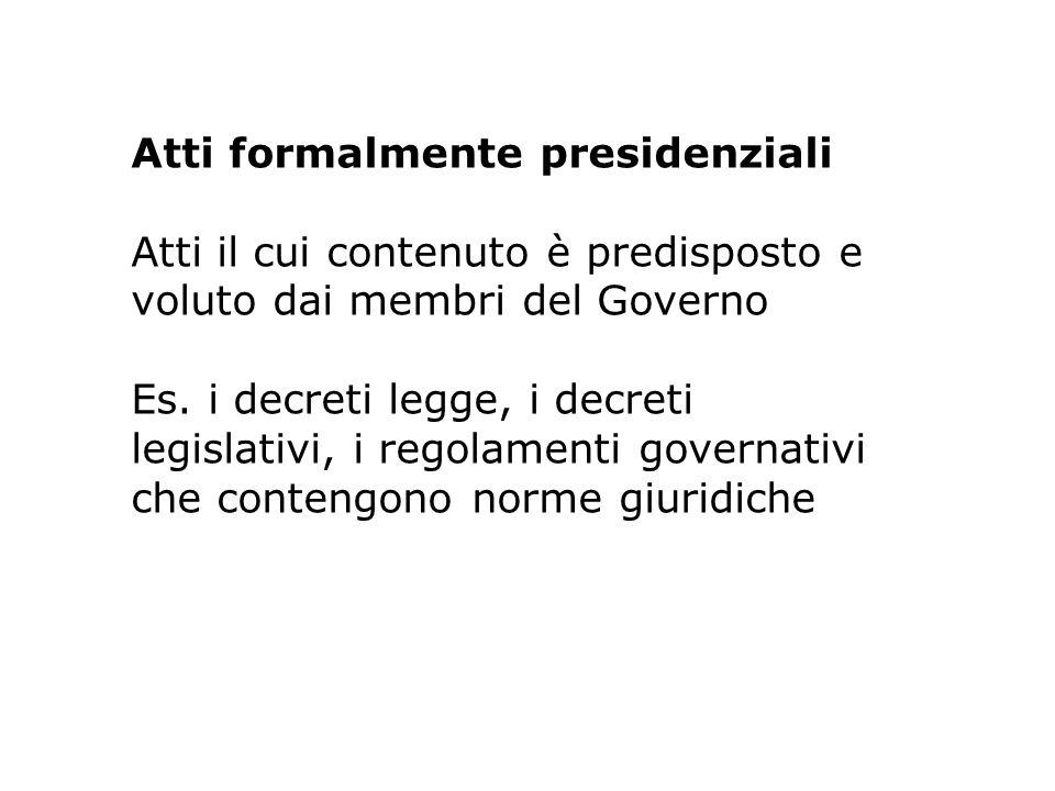 Atti formalmente presidenziali