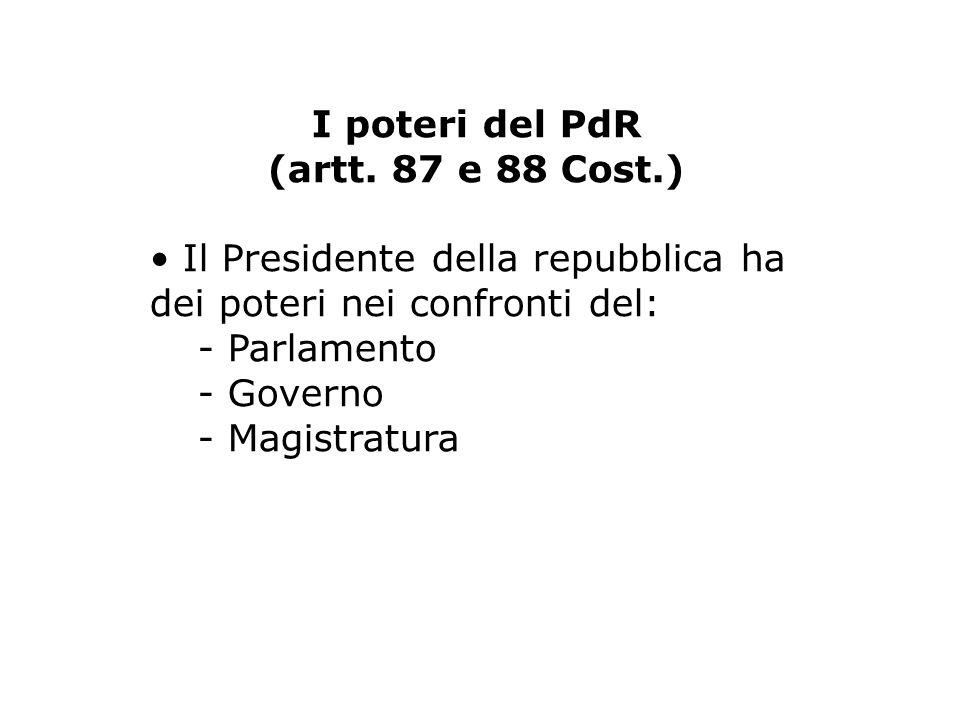 I poteri del PdR (artt. 87 e 88 Cost.) • Il Presidente della repubblica ha dei poteri nei confronti del: